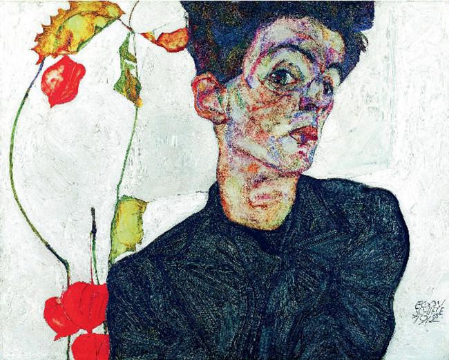Egon Schiele, Selbstbildnis mit Lampionfrüchten, 1912 / LEOPOLD MUSEUM - MuseumsQuartier Wien