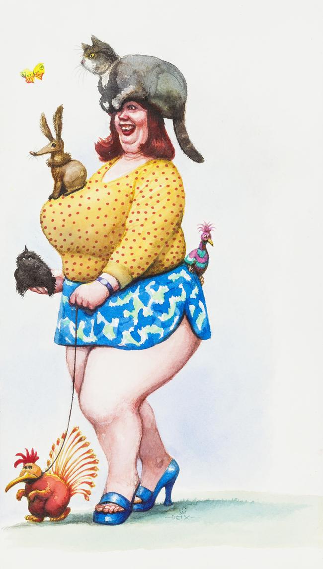 Manfred Deix, Sommerzeit - Zeit der Miss-Wahlen Miss Tierliebe, 2002, Landessammlungen Niederösterreich, Foto Christoph Fuchs / Karikaturmuseum Krems - Erlebnis für die ganze Familie