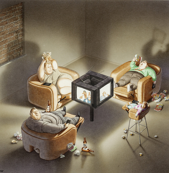 Gerhard Haderer, Die Fernsehfamilie, 1990, Landessammlung Niederösterreich / Karikaturmuseum Krems - Erlebnis für die ganze Familie