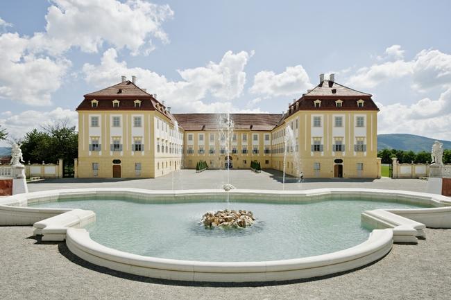 Neptunbrunnen mit Blick auf Schloss Hof / Hof Castle & Niederweiden Castle