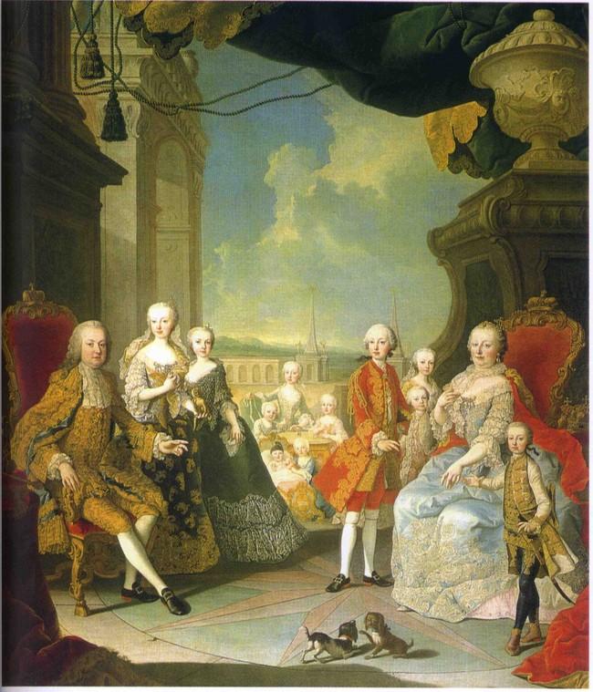 Maria Theresia und Franz I. Stephan mit 11 Kindern, Martin van Meytens d.J., um 1764-1765, Gemäldegalerie KHM Wien / 300 Jahre Maria Theresia